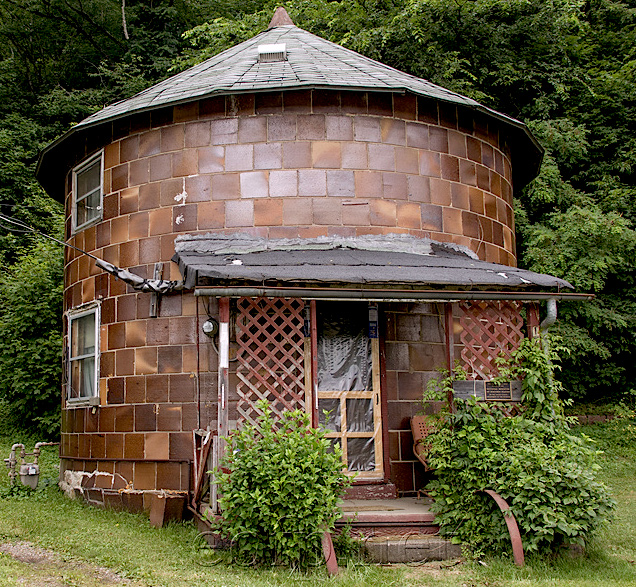 This round house looks like a piece of the famous pipe set on its end with a roof. Drive through slowly. Come back another time for a hike to find the Haydenville Tunnel - spooky & half collapsed.