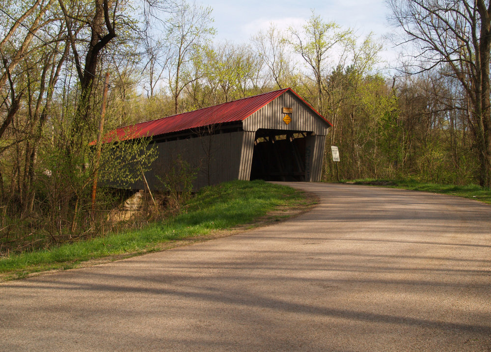 Arbaugh Covered Bridge at Eakins Mills, just off 32 W on CR 38 N. Lovely.