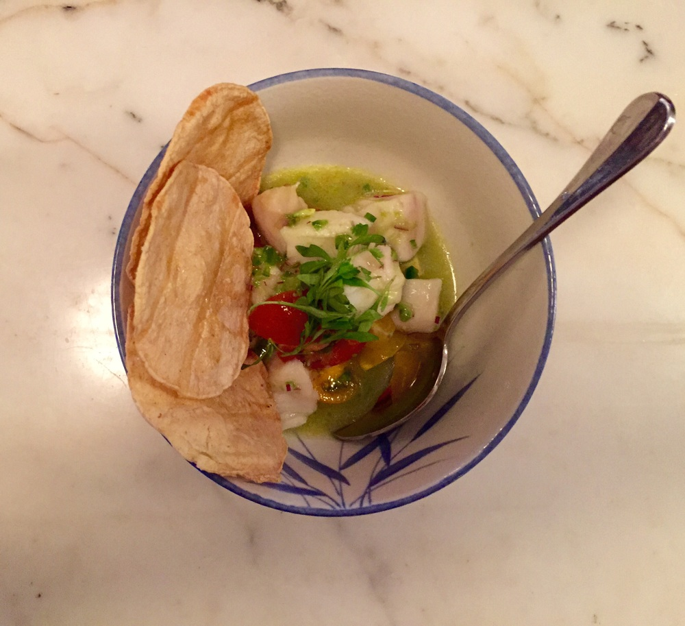 CEVICHE :    lime marinated | jalapeno | avocado | baby heirloom tomato | cilantro | onion