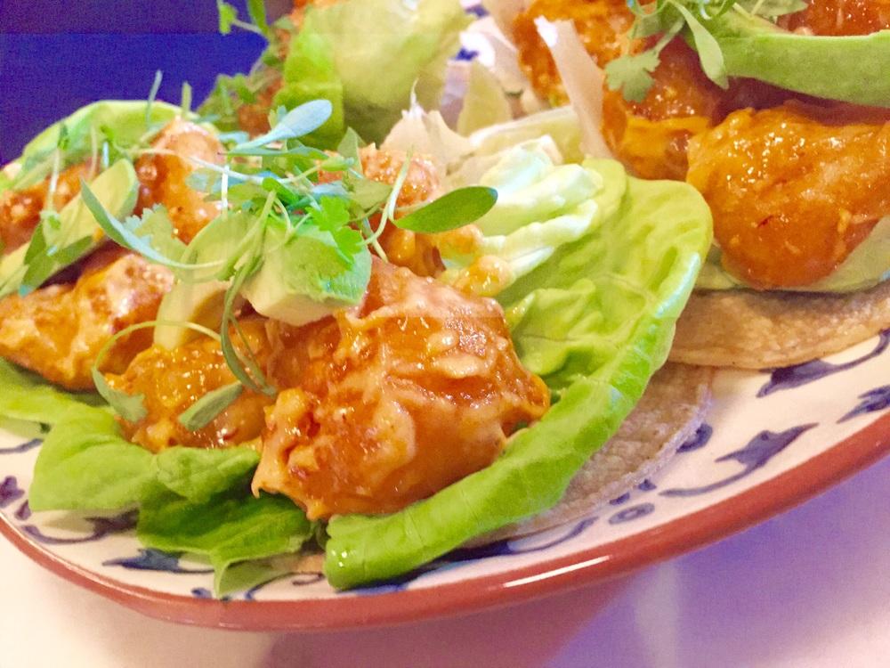 ROSARITO SHRIMP TACOS:     chipotle mayo | avocado | butter letuce