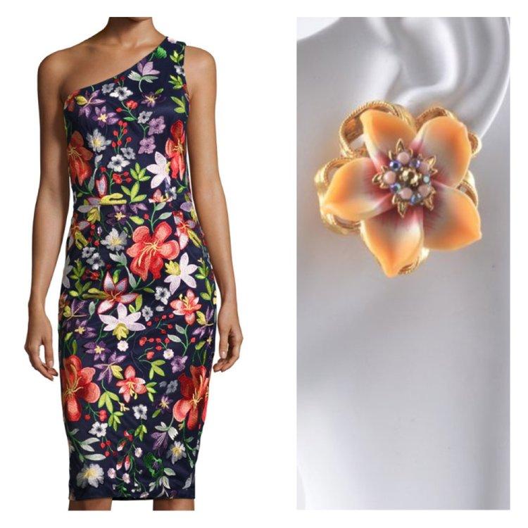 3ee820cfb427 Jose & Maria Barrera-So many flower dresses, so many flower earrings ...