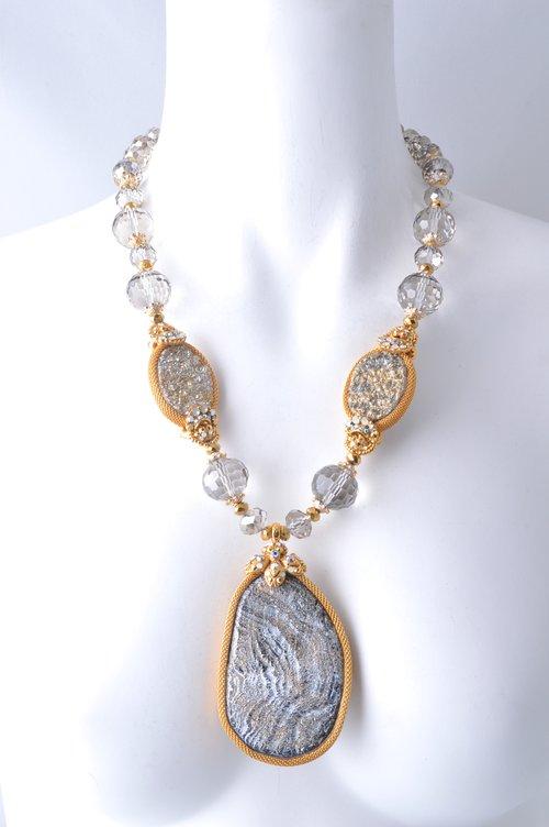 Jose maria barrera silvergold wash druzy pendant necklace silvergold wash druzy pendant necklace aloadofball Images