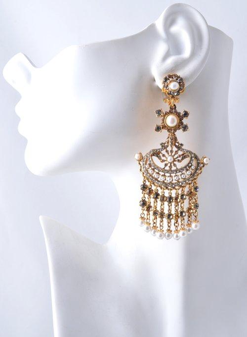 Jose maria barrera large gold champaign pearl chandelier earring large gold champaign pearl chandelier earring aloadofball Gallery