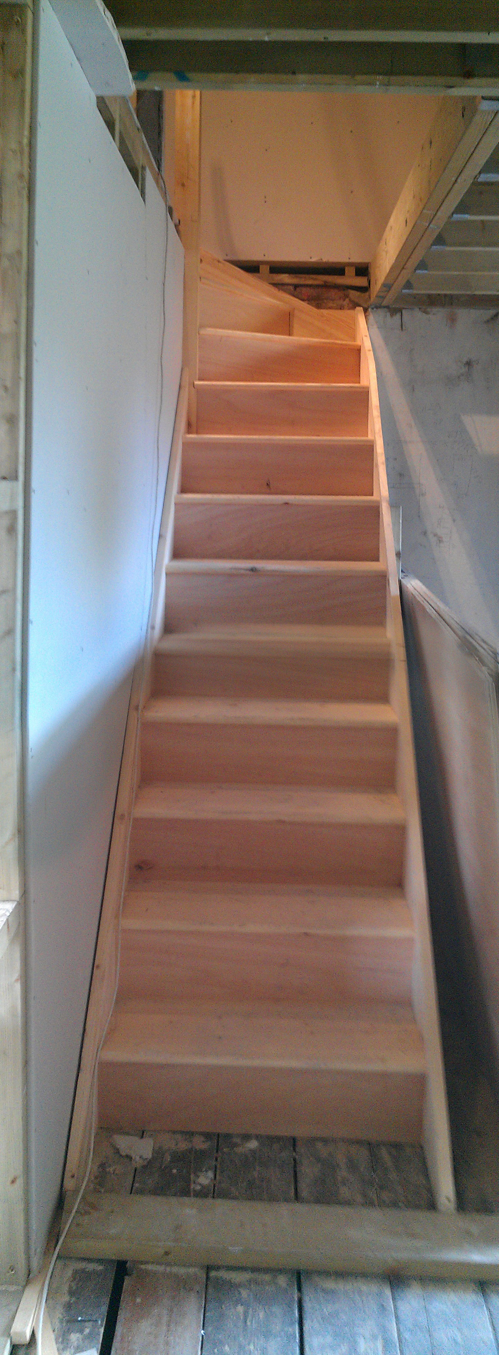 Very happy to see our tight little loft stair going in, looks spacious enough in the flesh!