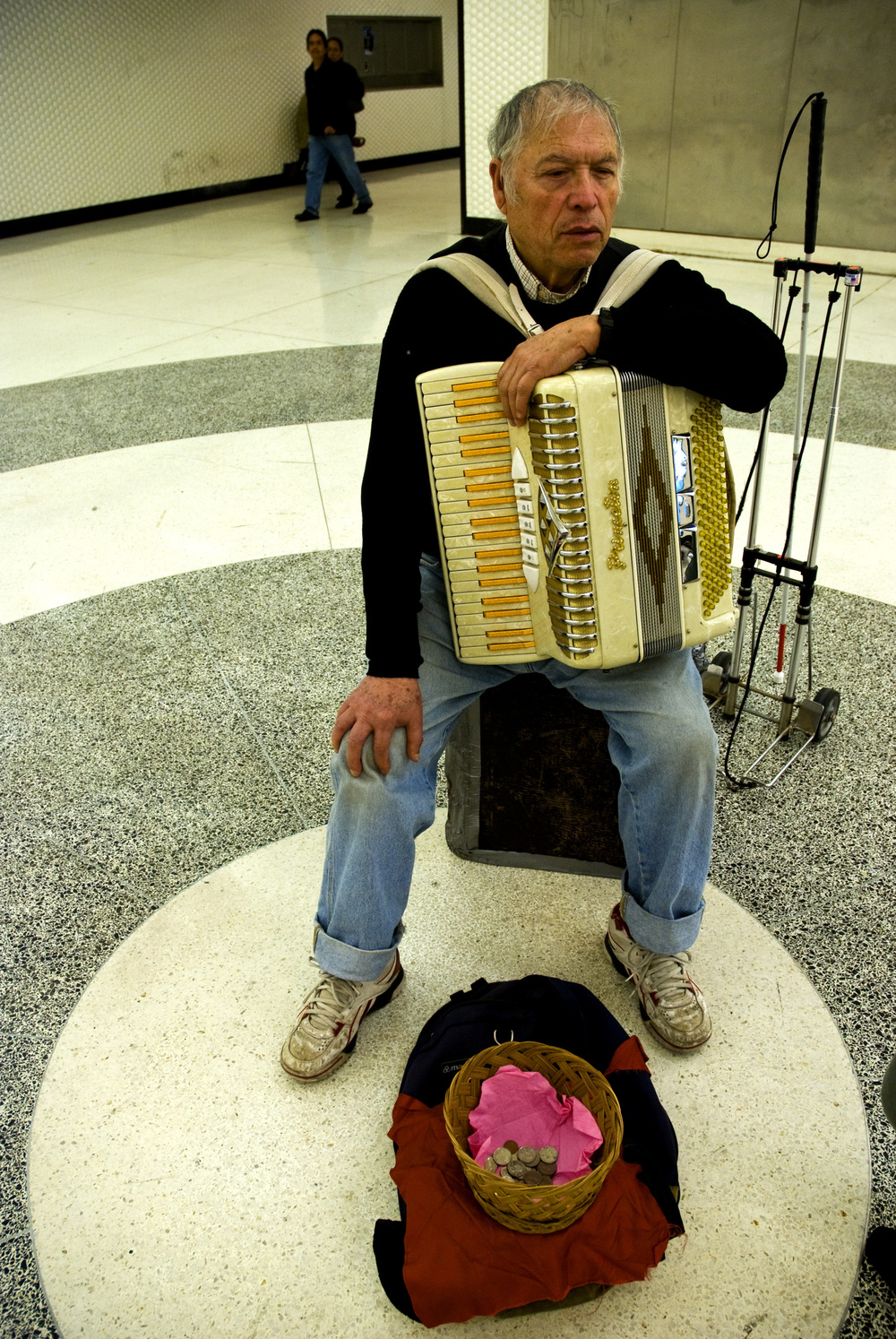 Louis Lopez is blind, but that didn't stop him from learning the accordion. He moved from Chicago to San Francisco in the 70s, and plays to the multitudes of commuters who wind their way through the Powell St. BART station every day.