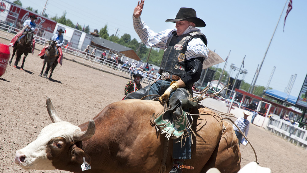 "A cowboy takes on a massive bull during Frontier Days in Cheyenne, WY. This yearly celebration, known as the ""Gran'daddy of 'em all,"" is a celebration of the cowboy lifestyle."