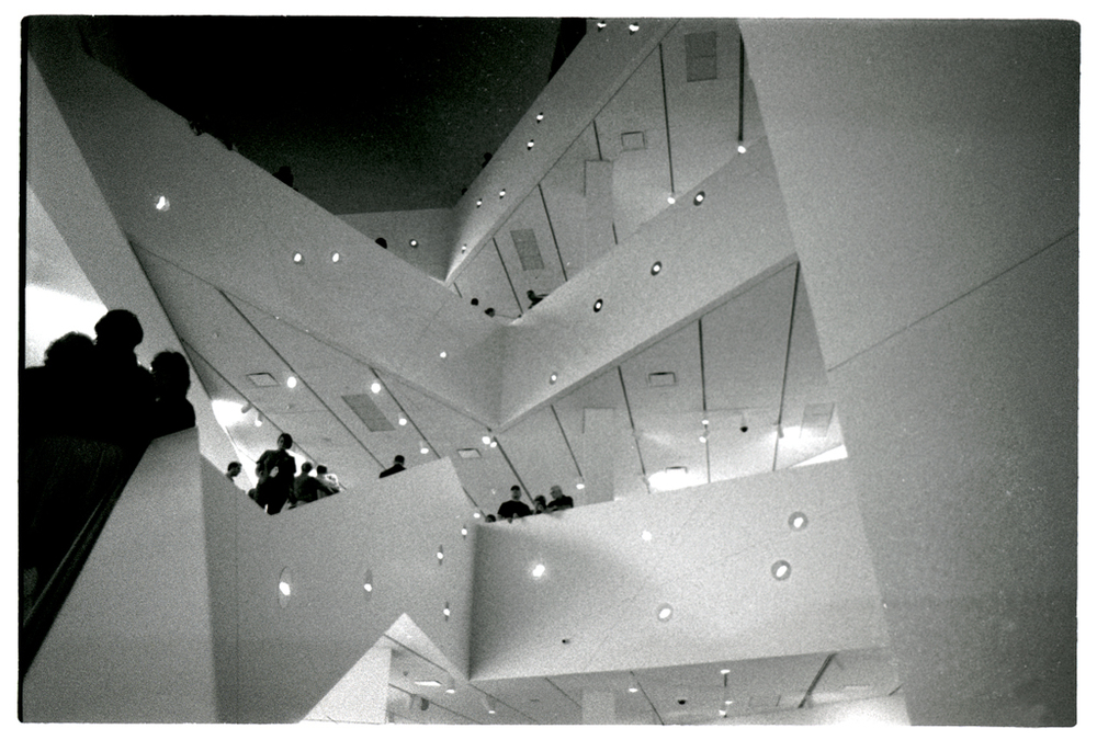 The interior of the Denver Art Museum's Frederic C. Hamilton building on its opening night, October 2006