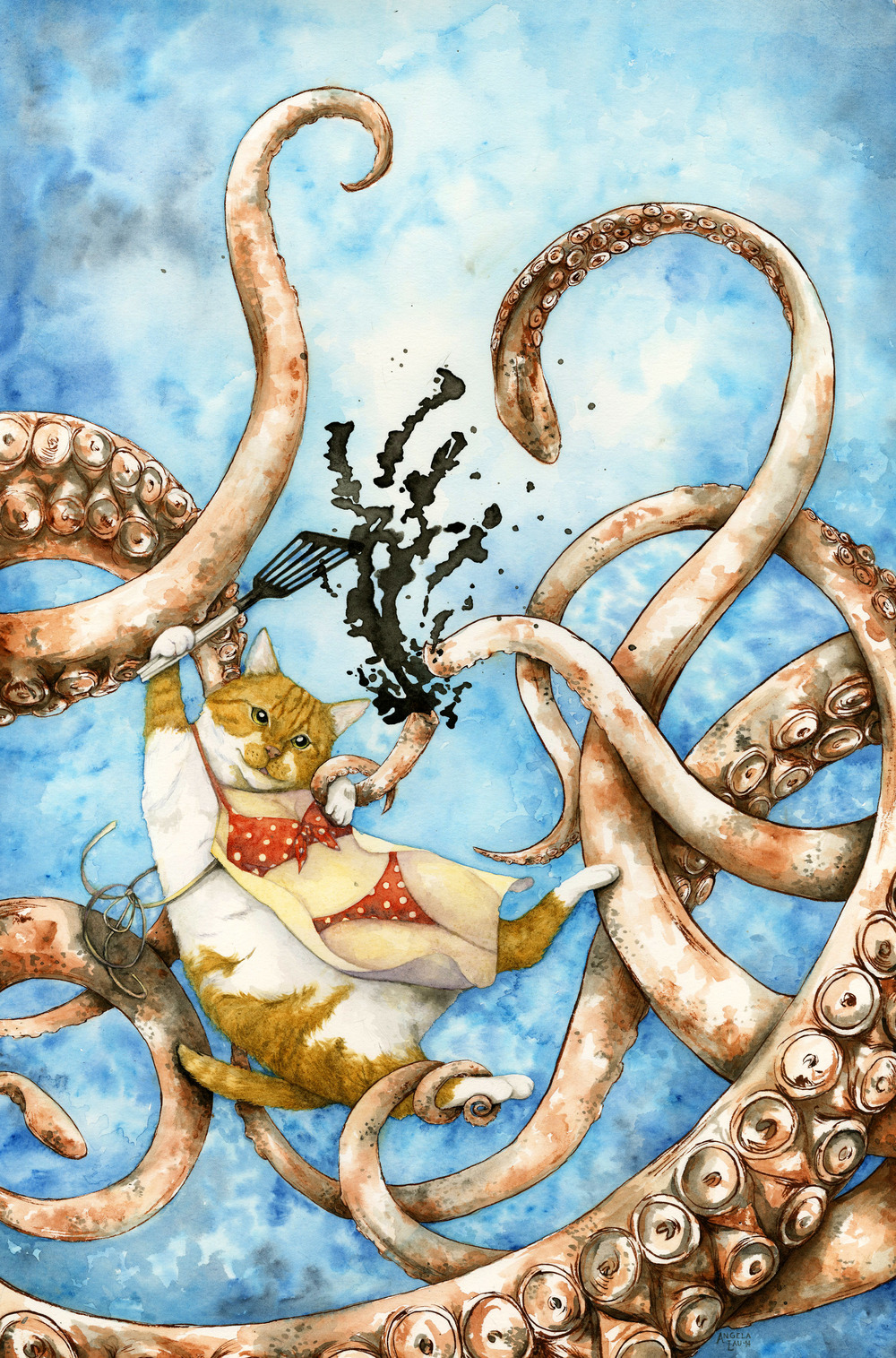 Calamari  Watercolor and sumi ink on paper 2014  Mr.Kitty goes hunting for squid