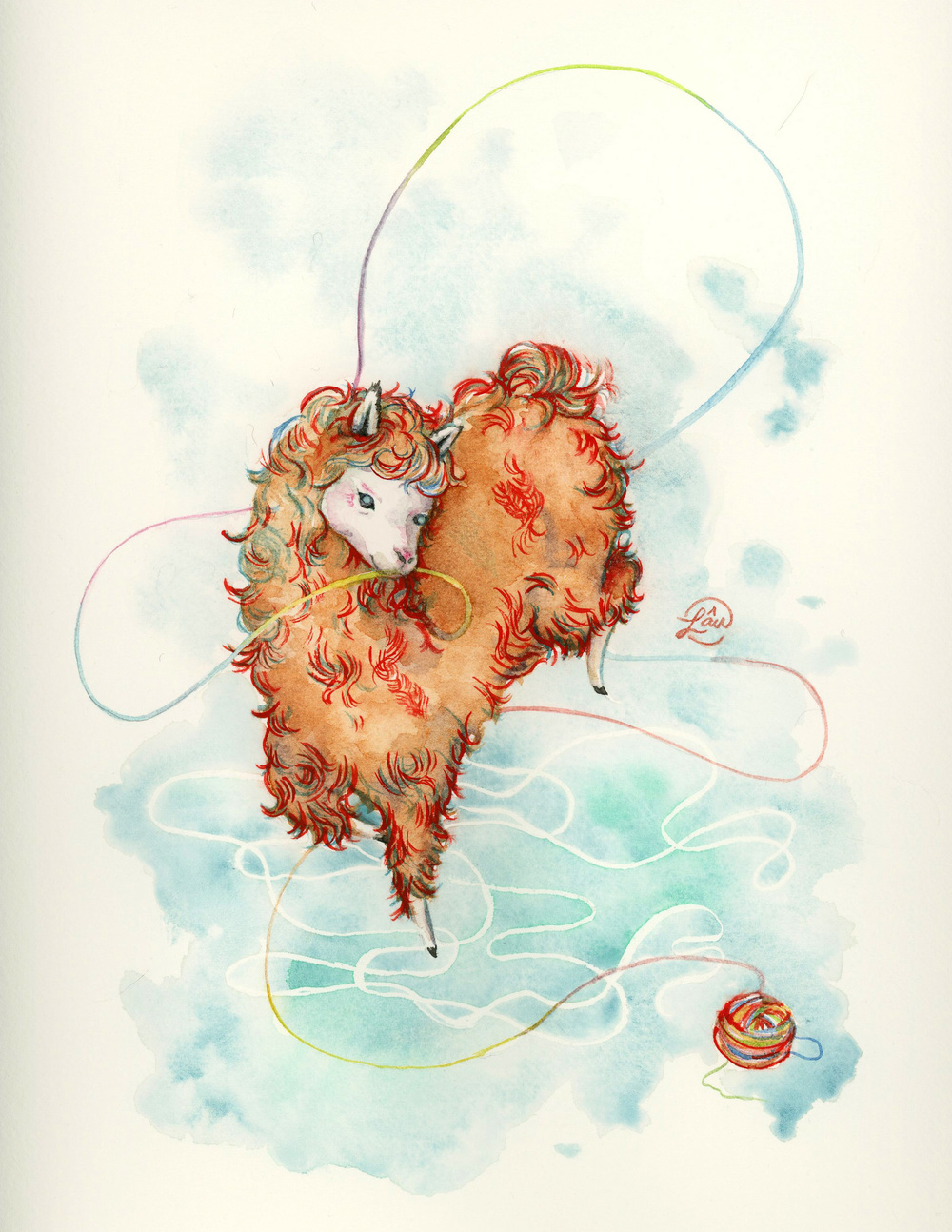 Wool Watercolor and gouache 2014 Wool of an alpaca is an easily hypoallergenic and renewable source.