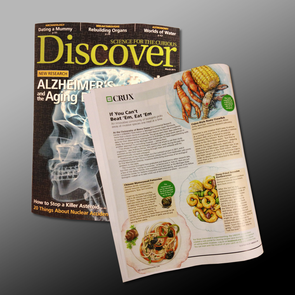 "If You Can't Beat 'Em, Eat 'Em - "" An innovative community of biologists picks away at invasive species one meal at a time.  By  Brian Barth   Published in  Discover Magazine  for March 2015 issue, page 12.  Online Article  here   AD Alison Mackey  Article promoting ""Invasivores"" - to eat invasive species"