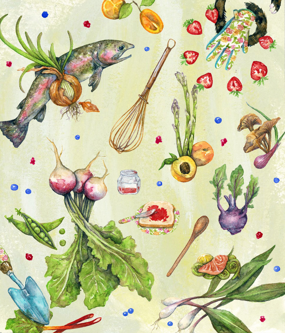 Spring Harvest  Watercolor on paper 2015  Delicious treats best harvested in Spring.