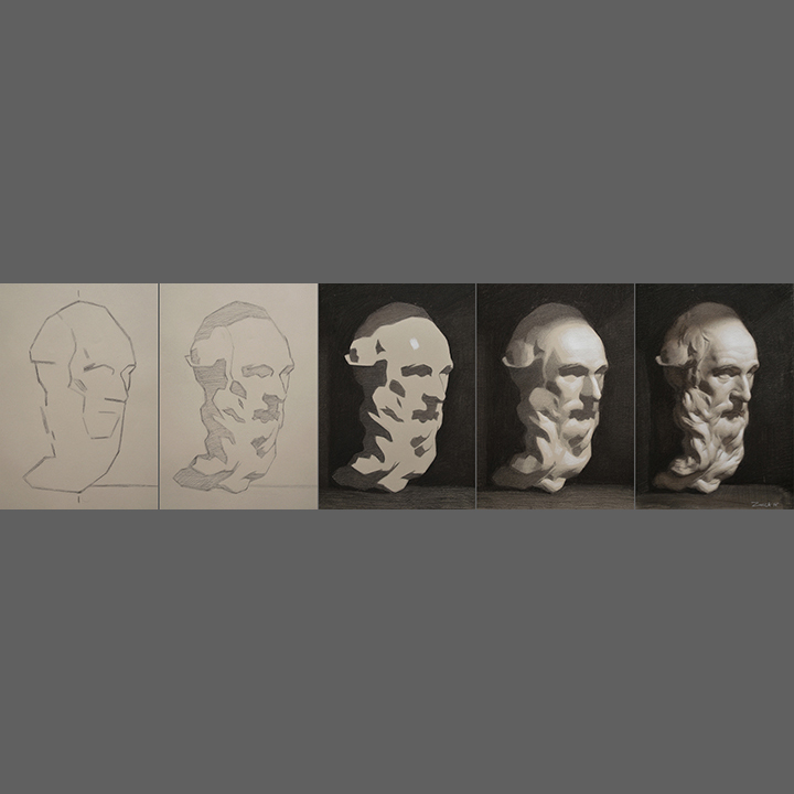 Step by step cast, 2x8%22, Charcoal and white chalk on toned paper, 2015 copy.jpg