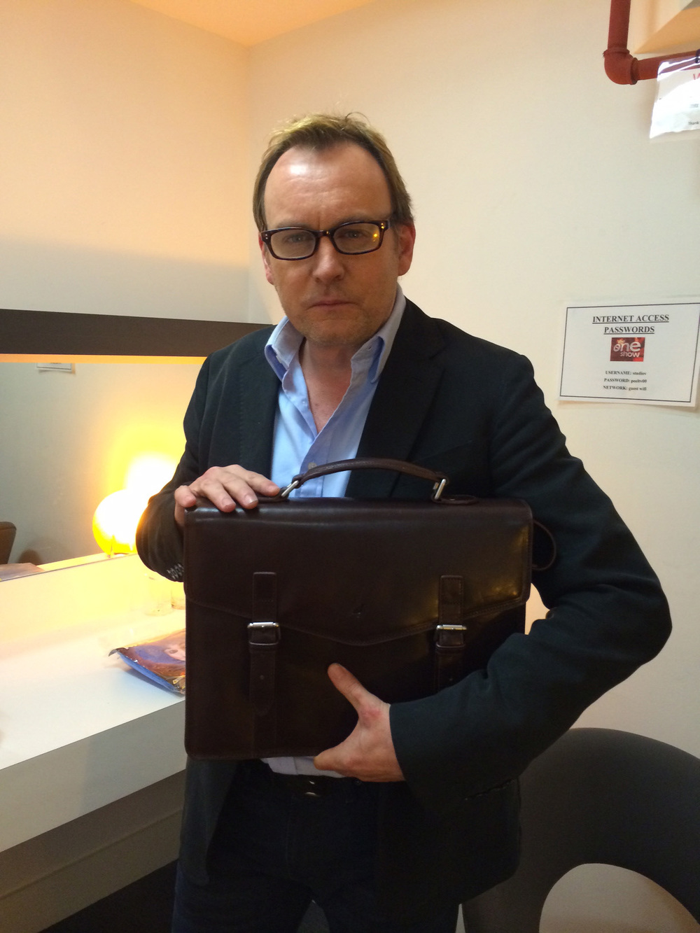 Philip Glenister sporting his Maple briefcase in the one show dressing room.