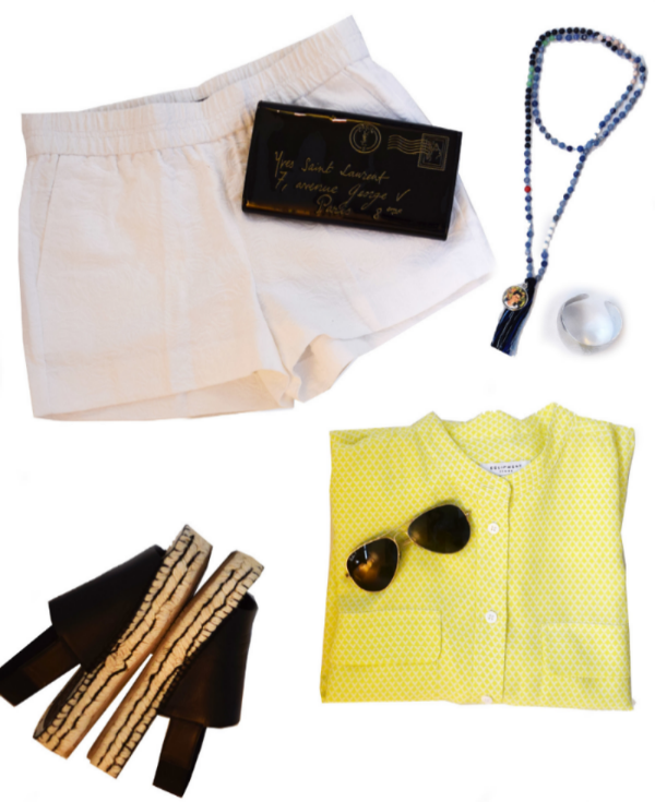 Lux Lake  Necklace  ($120) Equipment  Blouse ( similar here )  Palomo Barcelo                              E spadrilles ( sold here )  J.Crew  Shorts ( similar here )  YSL  Clutch ( similar here )