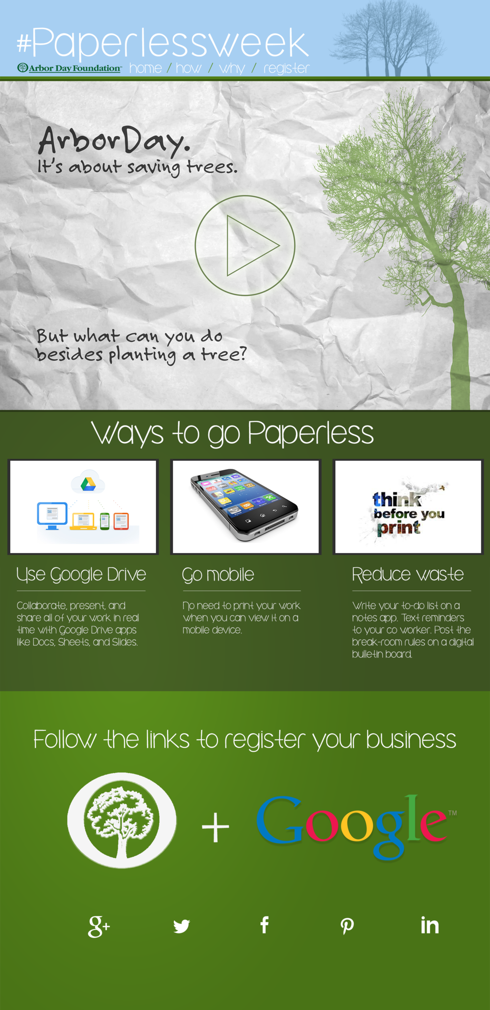 Homepage for the #paperlessweek campaign