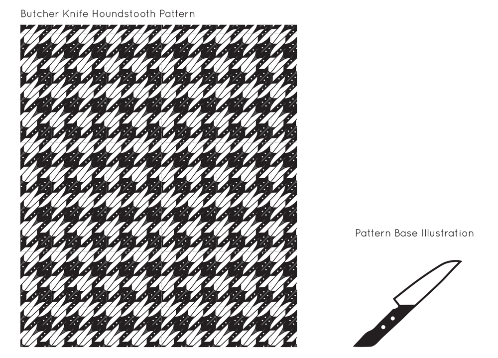 This is a houndstooth pattern that I created in Adobe Illustrator, using a chef's knife as the base of the illustration.