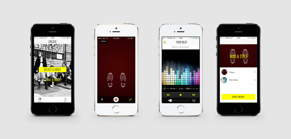 An app to record your steps and generate a beat. Contest to be the next commerical's soundtrack.