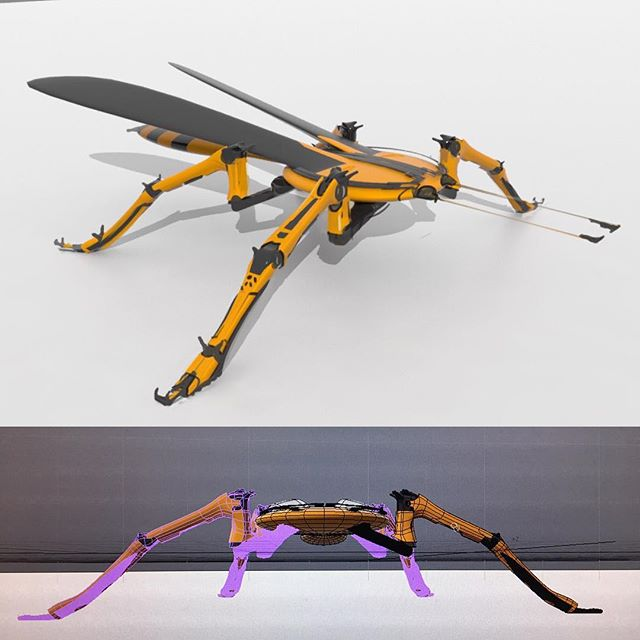 #conceptart #robotics #robot #drone #wasp #insectdrone #conceptualart #hexapod #sketch #digitalart #design #robotdesign #screenshot #wip figuring out the leg.. I know need 2 more t-rex arms ;)
