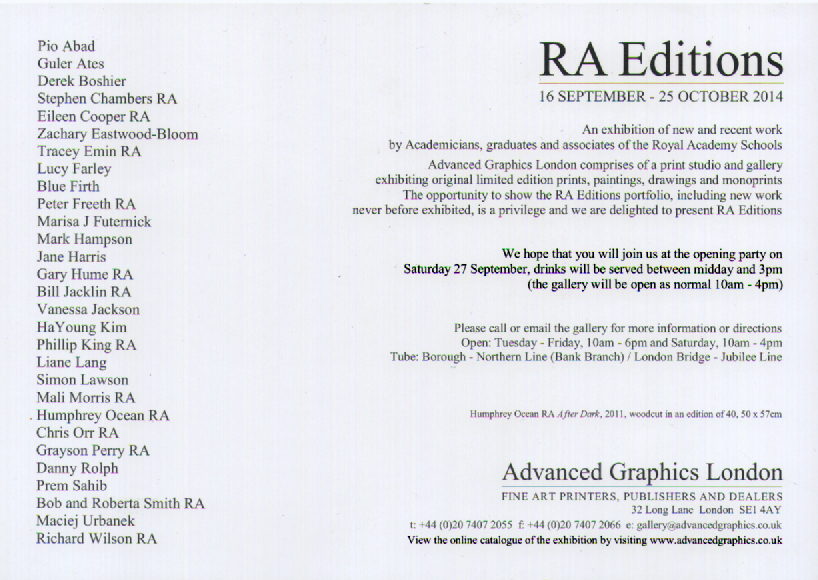From 16th September - 25th October you can see my RA Edition 'Asklepios' exhibited at Advanced Graphics London, More information here.