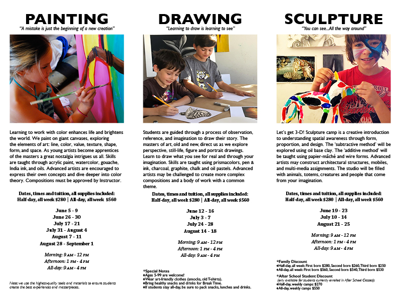 Summer Art Camp Registration Form - painting | drawing | sculpture