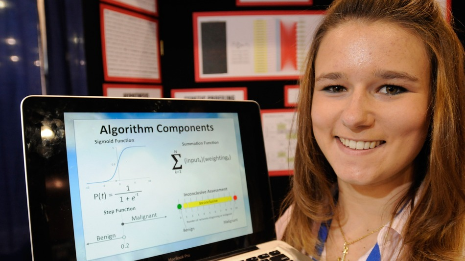 This is Brittany Wenger, the developer of the Leukemia seeking algorithm! She was a high school senior at the time!