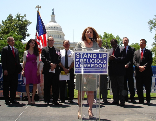 "Michelle Bachman giving a speech for ""religious freedom,"" the problem is, she's only advocating her religion, not all religions."