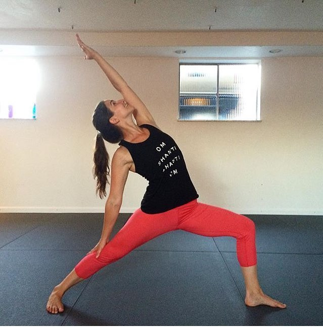 We miss Liz and her fierce yet gentle sequences, so here's an old picture for #warriorwednesday #ReverseWarrior #yoga