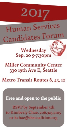 FOR CITY OF SEATTLE Mayoral, Councilmember and City Attorney CANDIDATES WHEN: September 20th, 5pm-7:30pmWHERE: Miller Community Center, 330 19th Ave E Seattle -
