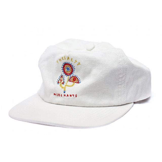 """Our """"3 eye cacti"""" chainstitch on an off white, deconstructed linen cap for casual look, custom lining, brass fittings and internal label. #linen #linencap"""