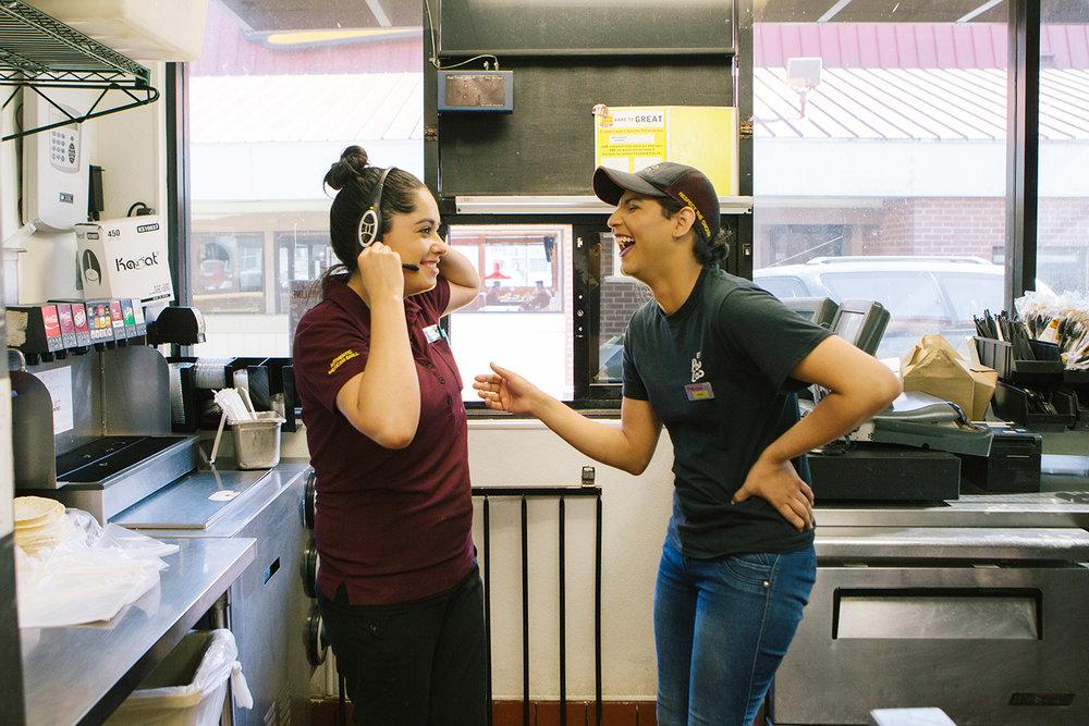 Marie Hoole with a coworker, El Pollo Loco | KCET