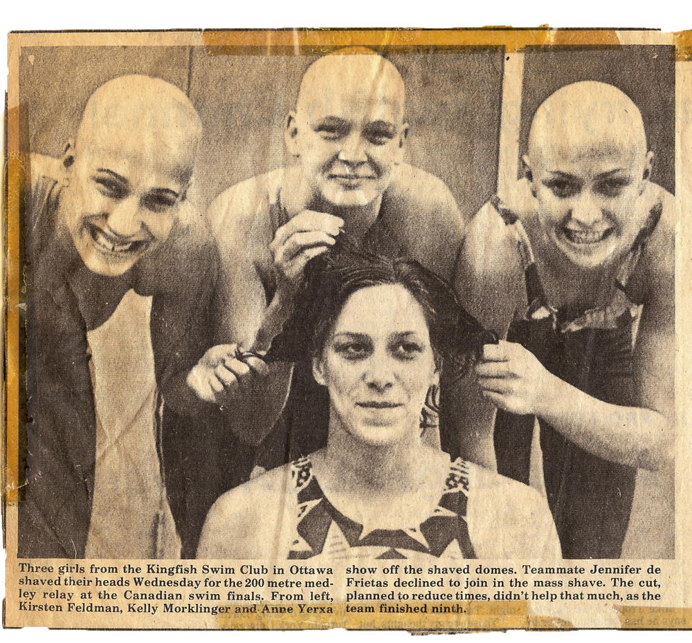 Shaved heads swim team