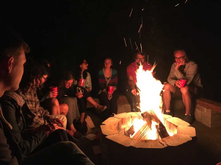 Telling lab legends over s'mores and a campfire  (left to right) Edouard Mullarky, Joana Nunes, Sungyun Cho, Bethany Schaffer, Kripa Ganesh, Tanya Schild, Michal Nagiec, John Blenis  September 2017
