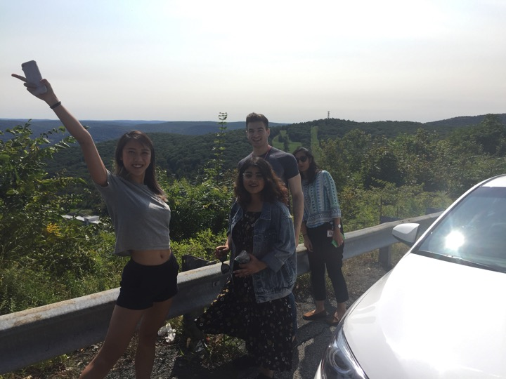 Taking a pit stop on a road trip for our lab retreat.  (left to right) Vivien Low, Tasnia Islam, Adam Rosenzweig, Kripa Ganesh  September 2017
