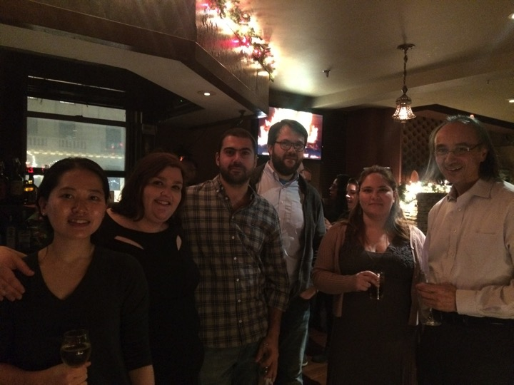 John and the postdocs at the Christmas Party  (left to right) Gina Lee, Ana Gomes, Yasir Ibrahim, Michal Nagiec, Didem Ilter, John Blenis  December 2015