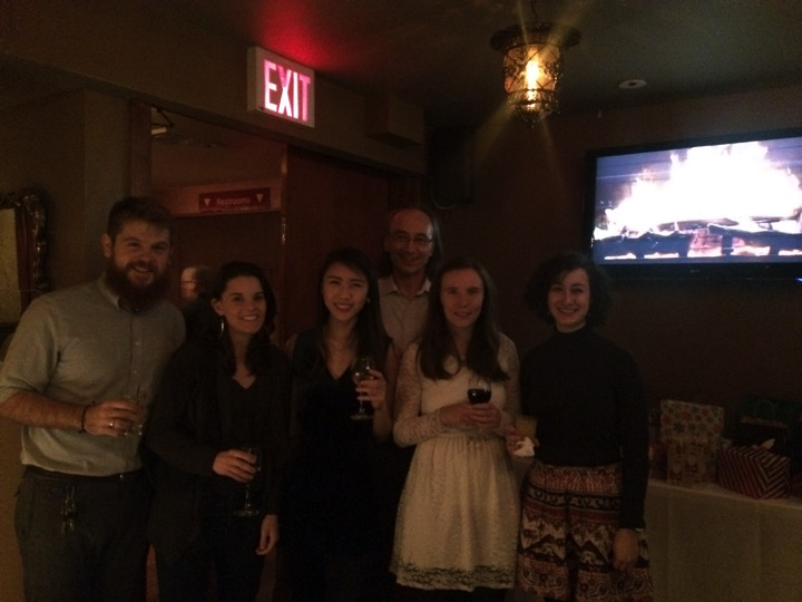 John and all his students at the Christmas Party  (left to right) Tyler Thompson, Gwen Buel, Vivien Low, John Blenis, Tanya Schild, Joana Nunes  December 2015