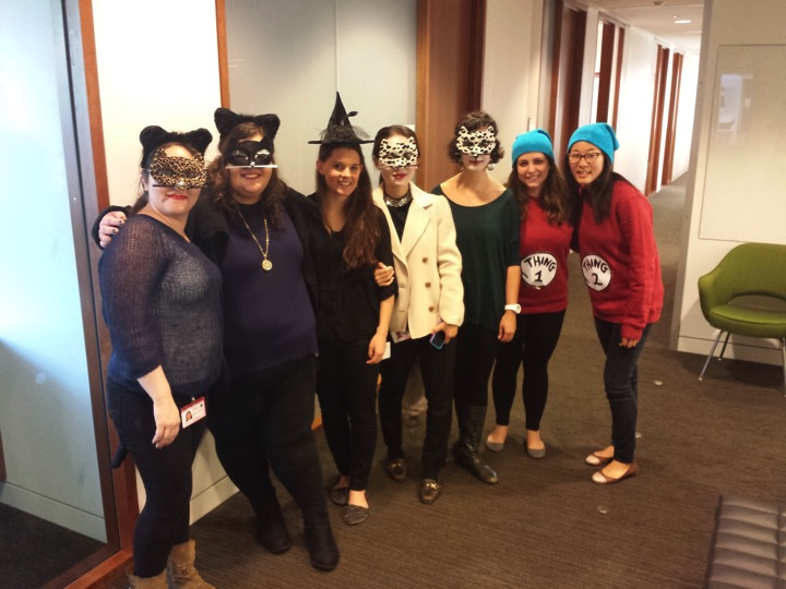 Getting in the spooky spirit for Halloween!  (left to right) Didem Ilter, Ana Gomes, Gwen Buel, Gina Lee, Joana Nunes, Christina England, Julie Han  October 2014