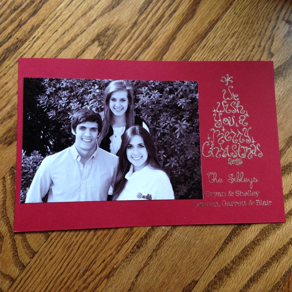Silver foil Christmas card