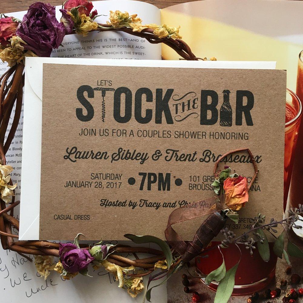 Lauren's Stock the Bar Invitation