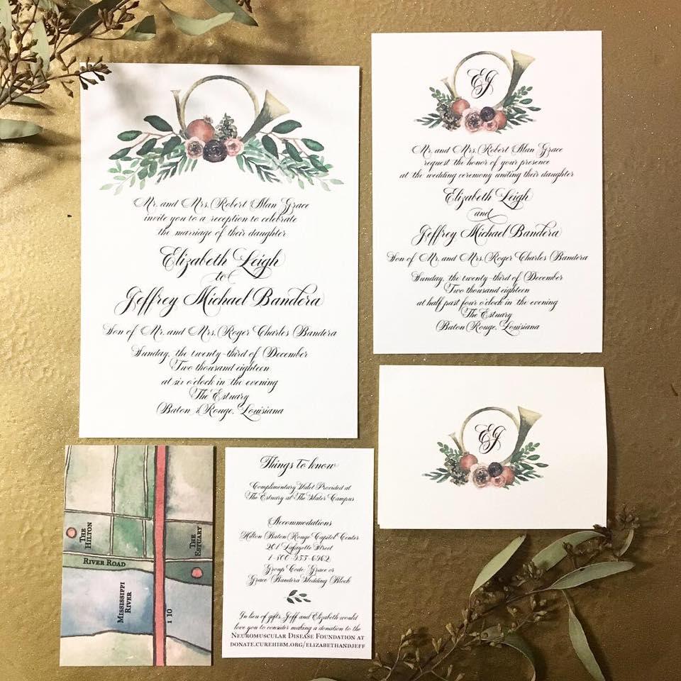 Wedding invitation suite.