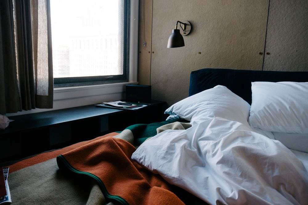 The incredibly comfy beds at the Downtown LA Ace Hotel.