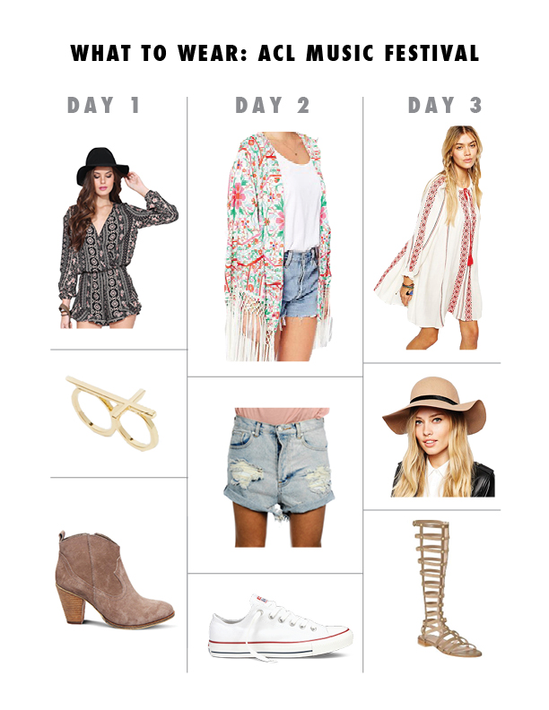 DAY 1:      Romper    |    Ring    |    Booties    |   DAY 2:      Kimono    |    Shorts    |    Sneakers    |   DAY 3:      Dress    |    Hat    |    Sandals