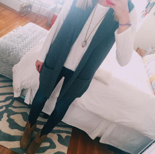 SWEATER VEST  |  TEE SHIRT  |  JEANS  |  BOOTIES