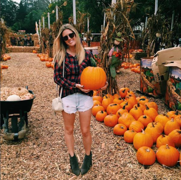 Picking out the perfect pumpkin at Clancy's pumpkin patch!    PLAID TOP   |   PURSE   |   SUNNIES   |   DENIM SHORTS   |   BOOTIES
