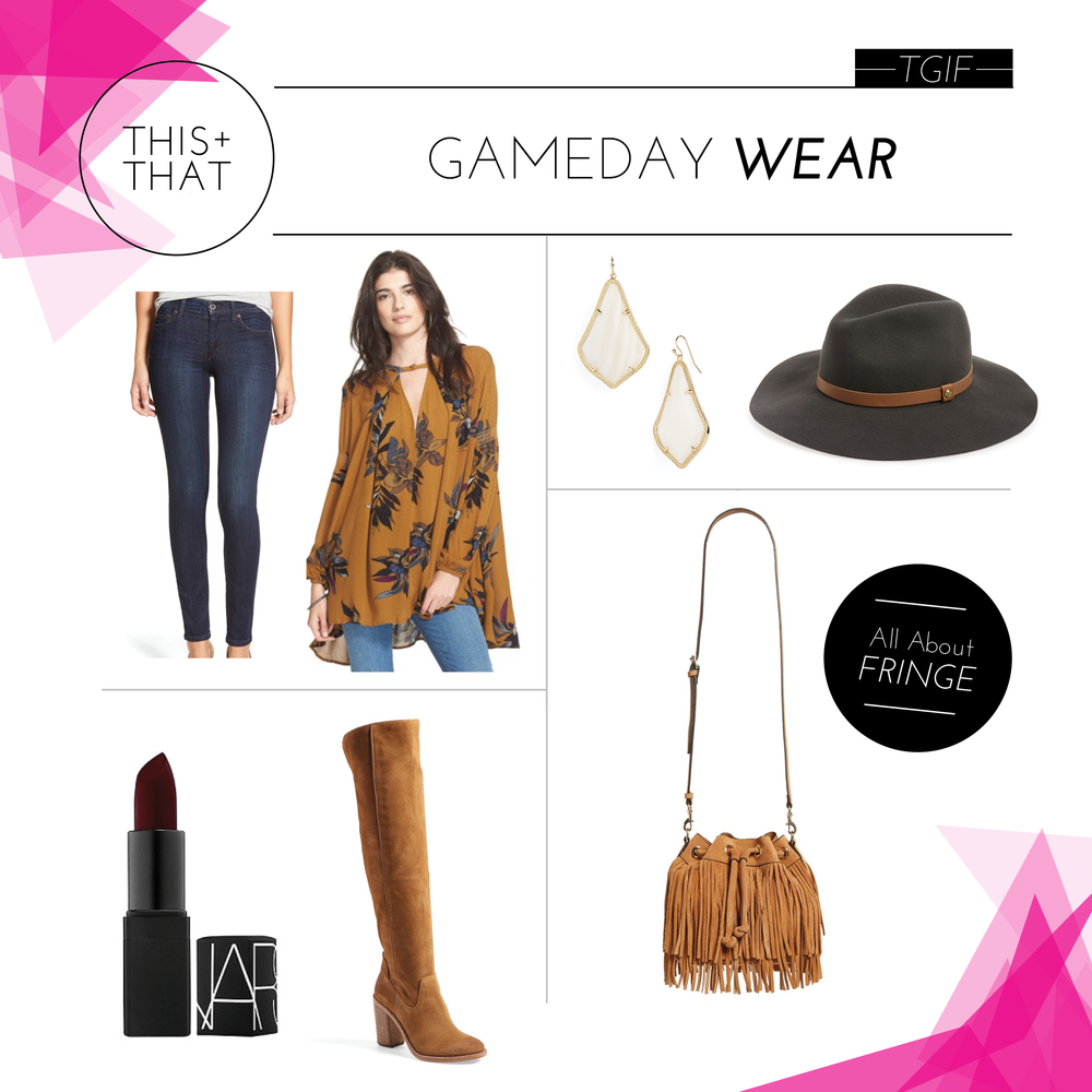 JEANS  |  TOP  |  LIPSTICK  |  OTK BOOTS  |  EARRINGS  |  HAT  |  FRINGE BAG