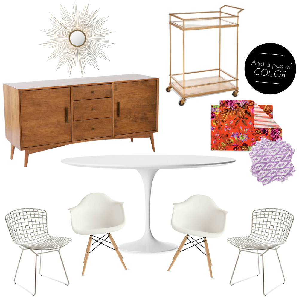 SHOP IT CLOCKWISE:     SUNBURST MIRROR  |  SIDEBOARD  |  BAR CART  |  PLACEMAT  |  NAPKINS  |  CHAIR  |  CHAIR  |  TABLE