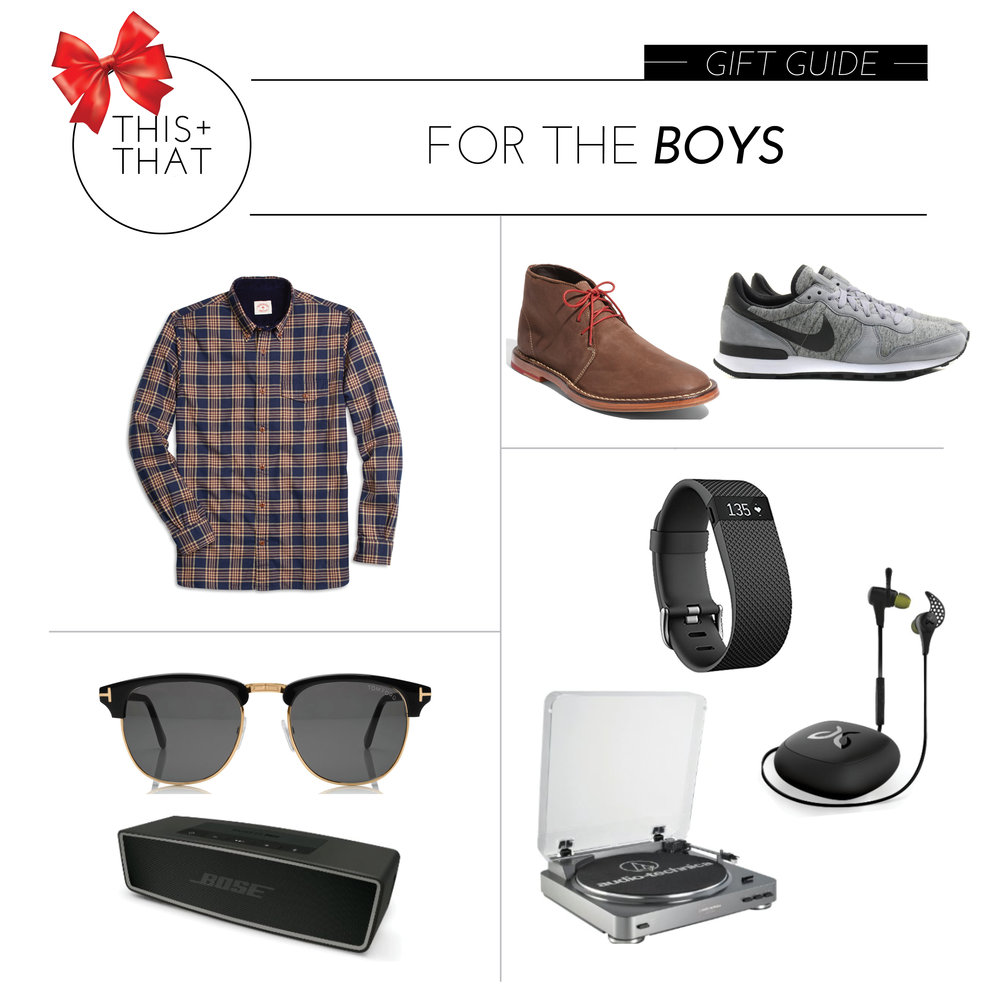 SHOP THE POST (CLOCKWISE):     SHIRT  |  CHUKKA BOOTS  |  SNEAKERS  |  FITBIT  |  HEADPHONES  |  TURNTABLE  |  SPEAKER  |  SUNNIES