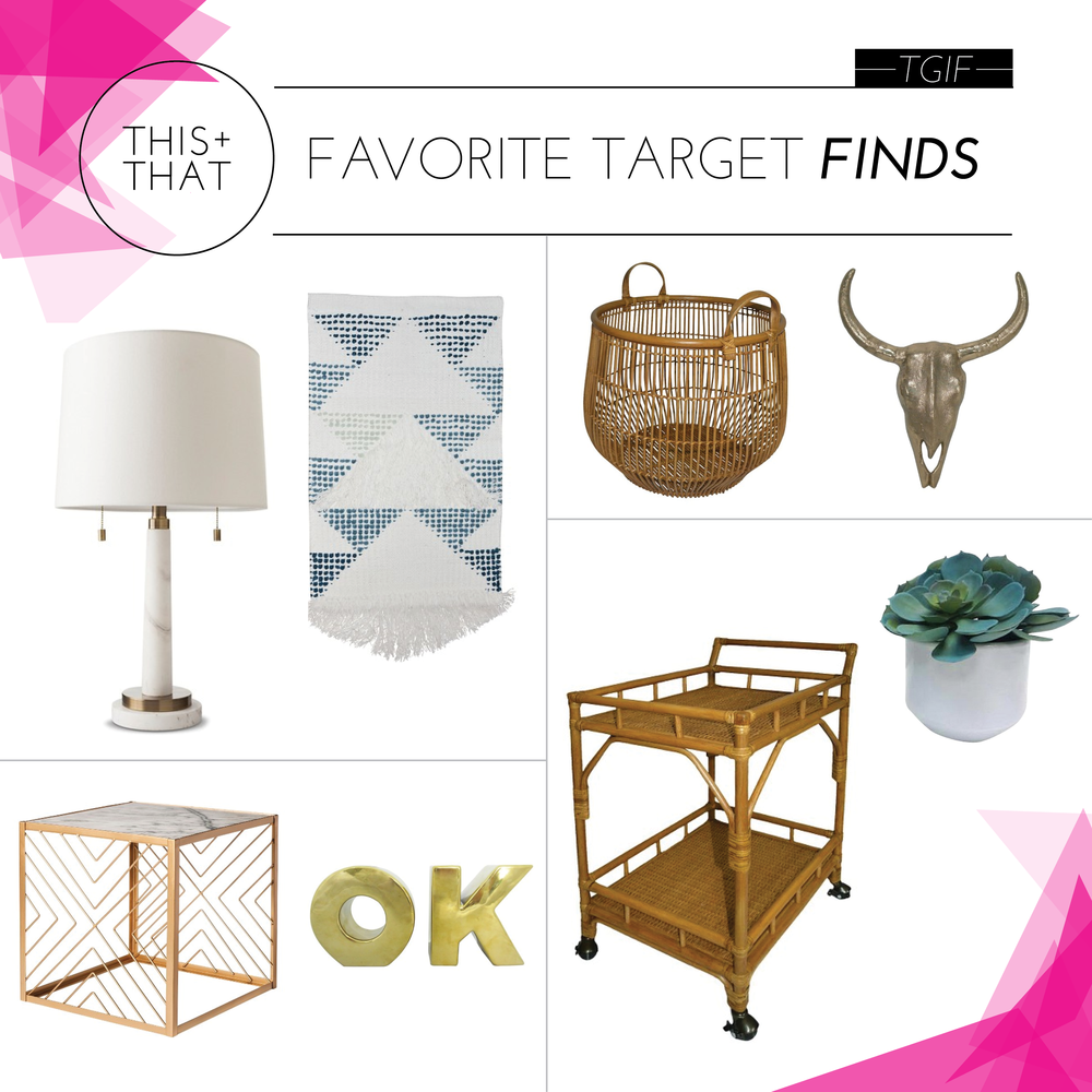SHOP CLOCKWISE:     LAMP  |  WALL HANGING  |  BASKET  |  SKULL  |  FAUX SUCCULENT  |  BAR CART  |  OK VASE  |  SIDE TABLE
