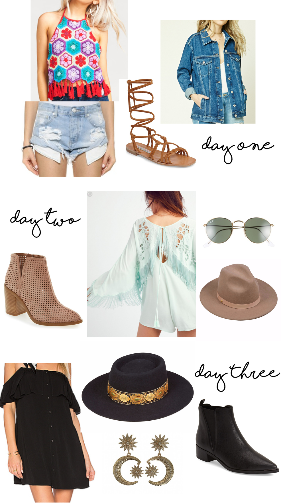 SHOP THE POST: DAY ONE: TOP | SHORTS | SANDALS | JACKET DAY TWO: ROMPER | HAT | BOOTIES | SUNNIES DAY THREE: DRESS | HAT | EARRINGS | BOOTIES