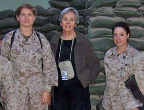 Sara with Women Marines