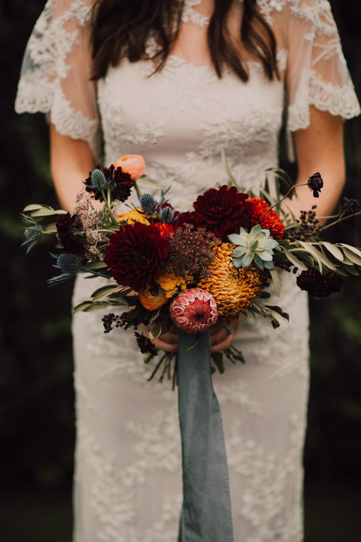 Bridal bouquet, rust, gold, thistle, protea, jewel tones, nashville florist